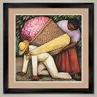 """35W""""x35H"""": THE FLOWER CARRIER by DIEGO RIVERA - DOUBLE MATTE, GLASS and FRAME"""