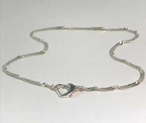 Solid Sterling Silver Anklet with Heart Clasp, Twisted 925 Chain Ankle Bracelet