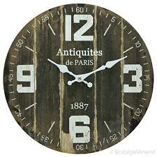 Nostalgie Wanduhr Antik Vintage Stil Küchenuhr Holz braun Uhr Küche Landhausstil