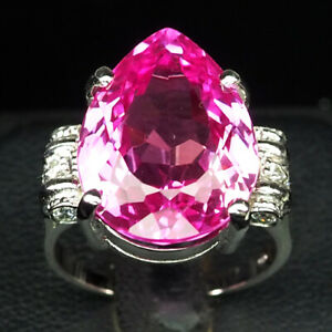 TOPAZ PLATINUM PINK PEAR 17.60 CT. SAPP 925 STERLING SILVER RING SIZE 7 JEWELRY