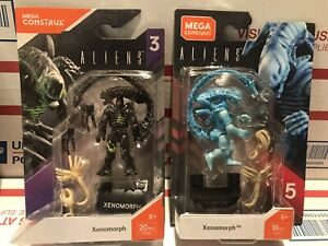 2 Mega Construx Series 3,4 Aliens Xenomorph Warrior & Blue MOC Authentic Retired