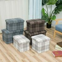 LARGE TARTAN LINEN FOLDING STORAGE OTTOMAN POUFFE SEAT FOOT STOOL STORAGE BOX