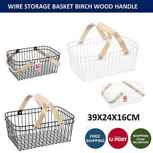 Wire Storage Basket With Wooden Handle Food Fruit Veggie Organizer 39X24X16CM AU