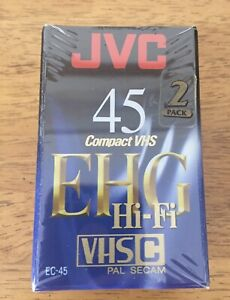 NEW Two Pack JVC EHG HiFi 45 Minute VHS-C Compact VHS Video Tape Cassette EC-45