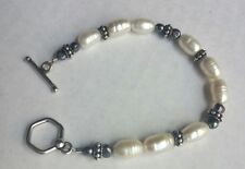"""Beautiful Sterling Silver Genuine Freshwater Pearls 7"""" Toggle Clasp Bracelet"""