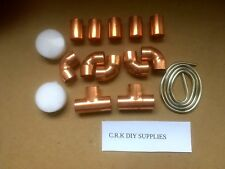 28mm endfeed copper pipe fittings 5 elbows 5 couplers 2 equal tees flux / solder