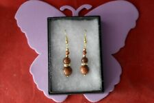 Beautiful Gold Plated Earrings With Sunstone 5.5 Gr. 3.5 Cm. Long + Hooks In Box