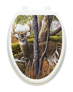 Toilet Tattoos Toilet Seat  Lid Decor Deer Creek Vinyl  Lid Cover