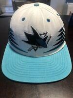 NICE Reebok San Jose Sharks Snapback Hat NHL White Hockey Sticks Face Off Cap