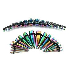 Anodized Titanium Ear Stretching Kit Plugs & Tapers Set 36pc Gauges 14g-00g