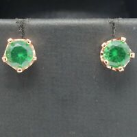 Vintage Round Emerald Stud Earrings Women Jewelry Gift 14K Rose Gold Plated