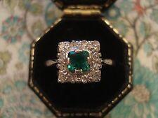 Hermoso Antiguo Art Deco; Esmeralda Piedra Preciosa & Brillante Diamantes Anillo De Oro 18CT