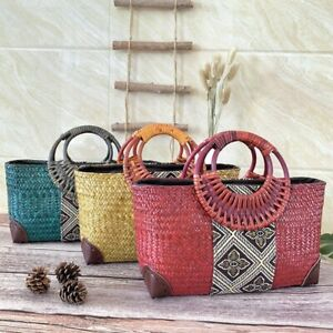 Handmade straw bag retro ethnic style rattan bag bamboo woven middle-aged lady w