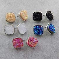 5 Pair Iridescent Druzy Set Earrings Faux Druzy Studs Drusy Post Earrings