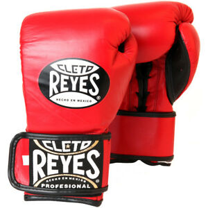 Cleto Reyes Lace Up Hook and Loop Hybrid Boxing Gloves - Red