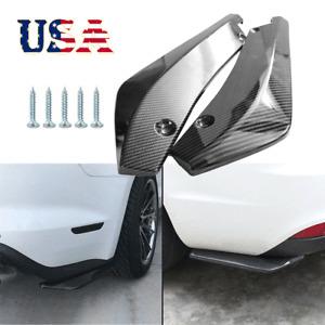 2x Car Carbon Fiber Rear Bumper Lip Diffuser Splitter Canard Protector Black