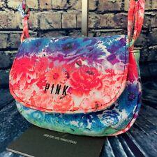 Victoria's Secret Pink Canvas Multi-Color Ombre Floral Crossbody Bag