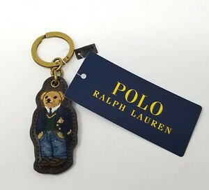 Polo Ralph Lauren Preppy Bear Leather Key Chain Key Ring W/ Box