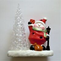 Light Up Ceramic Santa Snowman and Christmas Tree in Excellent Used Condition