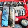 Natural Labradorite Moonstone Quartz Crystal Point Rock Stone Healing Wand HOT