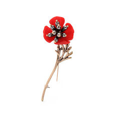 Vintage Red Flowers Nice Gold Pin Brooch