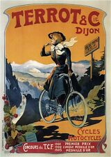 CYCLES TERROT 1905 Vintage French Bicycle Poster CANVAS ART PRINT 24x32 in.