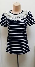 MAX C NAVY WHITE JERSEY T SHIRT TOP WITH LIGHT CREAM LACE RUFFLES AT NECK -SMALL