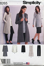 SIMPLICITY SEWING PATTERN 8265 MISSES 6-14 COAT DUSTER VEST, TUNIC, SKIRT, PANTS