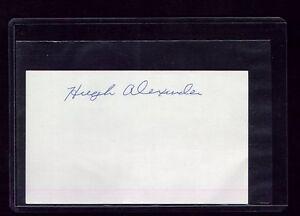 VTG CLEVELAND INDIANS HUGH ALEXANDER SIGNED BASEBALL 3X5 CARD - D2000/DEBUT 1937
