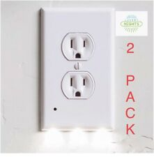 Outlet Cover 2 PACK LED Night Light with Sensor No Batteries Or Wires Needed