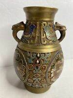 Antique Made In Japan Champleve / Cloisonne Bronze Urn Base w Handles