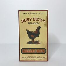 """Box Sign Busy Biddy Brand Rolled Oats Rustic Retro Distressed  7"""" X 4"""" X 2"""""""