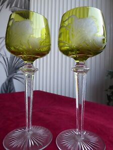 VERY RARE PAIR Art Nouveau period BACCARAT Crystal Rhine Hock Wine glasses Woman