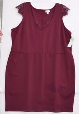DECREE Juniors Plus 2 X A-Line Dress with Lace accents, Maroon