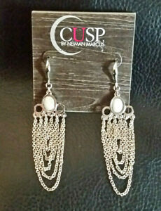 NEIMAN MARCUS EARRINGS CUSP Silver Pltd Chain Chandelier Briolette Crystal #901