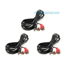 3X 10FT 3.5MM AUX RCA MALE PLUG AUDIO STEREO JACK BLACK CABLE IPHONE IPOD TOUCH