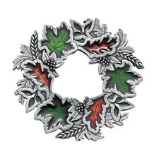 "Danforth Pewter 2"" Tall Autumn Wreath Brooch"