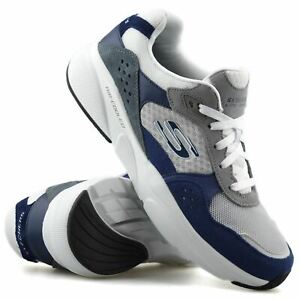 Mens Skechers Leather Suede Memory Foam Walking Running Gym Trainers Shoes Size