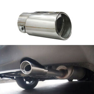 Car SUV Chrome Stainless Steel Rear Round Exhaust Pipe Tail Muffler Accessories!