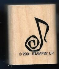 MUSIC NOTE SWIRL Song Tag STAMPIN' UP! 2001 Wood CRAFT Hobby RUBBER STAMP