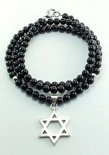 Mens Black Onyx Sterling Silver 925 Star of David Magen Pendant Jewelry Necklace