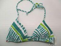 new S473 Women Size S String Tie Geometric Print Green/White Triangle Bikini Top