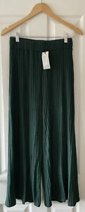 RIVER ISLAND GREEN RIBBED LOUNGE CASUAL CROP TROUSER UK 14 40 NEW