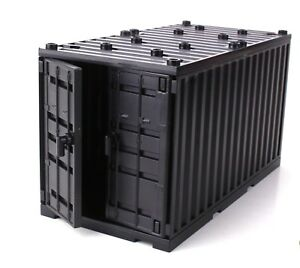 Black Cargo Shipping Container compatible with toy brick building blocks