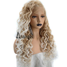 Anogol Long Curly Synthetic Blonde Lace Front Wig Ombre White Wigs Women's Hair