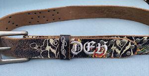 Don Ed Hardy Medium Leather Rhinestones Belt Style EH3122 - Studded - Large