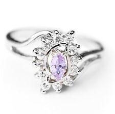 NEU 19mm/60 RING mit ZIRKONIA STEINE kristallklar/violett/lila DAMENRING