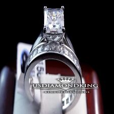 SOLITAIRE PRINCESS CUT ENGAGEMENT RING W/ ETERNITY WEDDING BAND STERLING SILVER