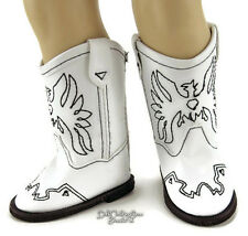 """White Cowboy Western Boots made for 18"""" American Girl Doll Clothes Shoes"""