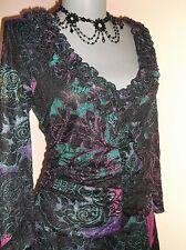 Per Una M&S Goth Boho BLACK Pink Purple Teal baroque floral LACE DRESS 14 UK